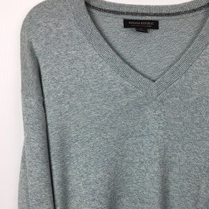 XL Knit Cashmere Cotton Sweater Green-Gray Cream